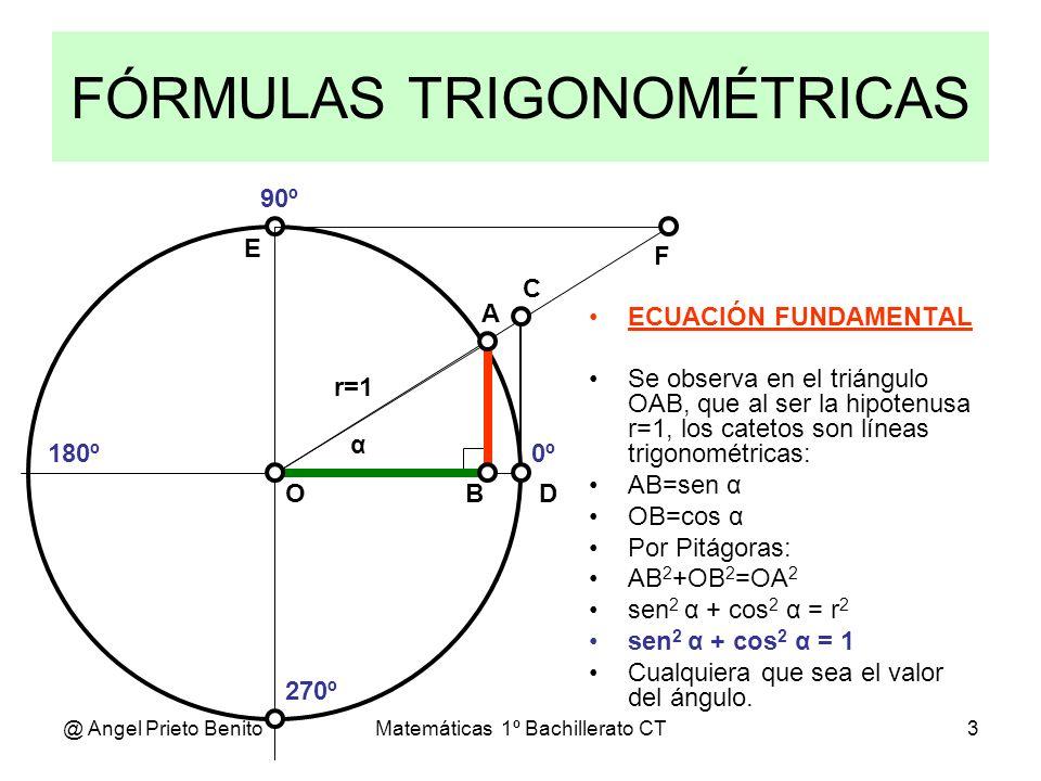 @ Angel Prieto BenitoMatemáticas 1º Bachillerato CT3 FÓRMULAS TRIGONOMÉTRICAS 0º 270º 180º 90º α A D C BO E F ECUACIÓN FUNDAMENTAL Se observa en el tr