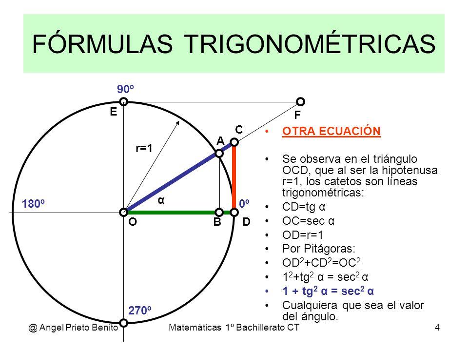 @ Angel Prieto BenitoMatemáticas 1º Bachillerato CT4 FÓRMULAS TRIGONOMÉTRICAS 0º 270º 180º 90º α A D C BO E F OTRA ECUACIÓN Se observa en el triángulo