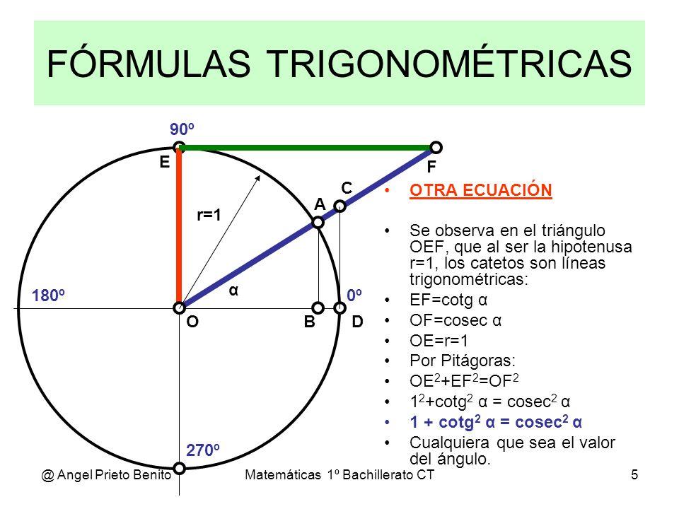 @ Angel Prieto BenitoMatemáticas 1º Bachillerato CT5 FÓRMULAS TRIGONOMÉTRICAS 0º 270º 180º 90º α A D C BO E F OTRA ECUACIÓN Se observa en el triángulo