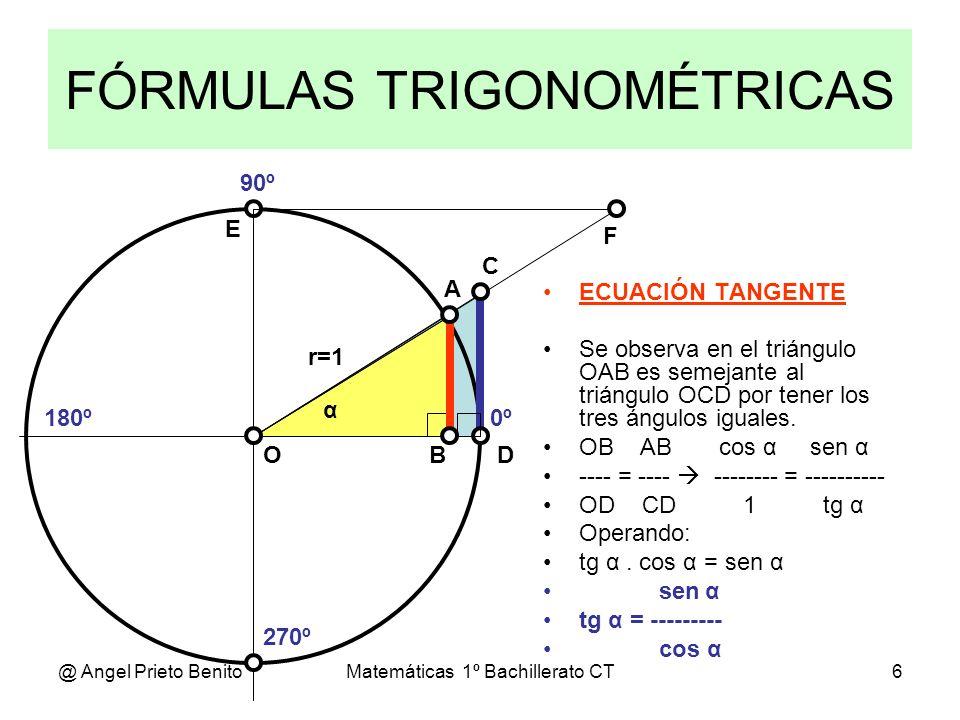 @ Angel Prieto BenitoMatemáticas 1º Bachillerato CT6 FÓRMULAS TRIGONOMÉTRICAS 0º 270º 180º 90º α A D C BO E F ECUACIÓN TANGENTE Se observa en el trián