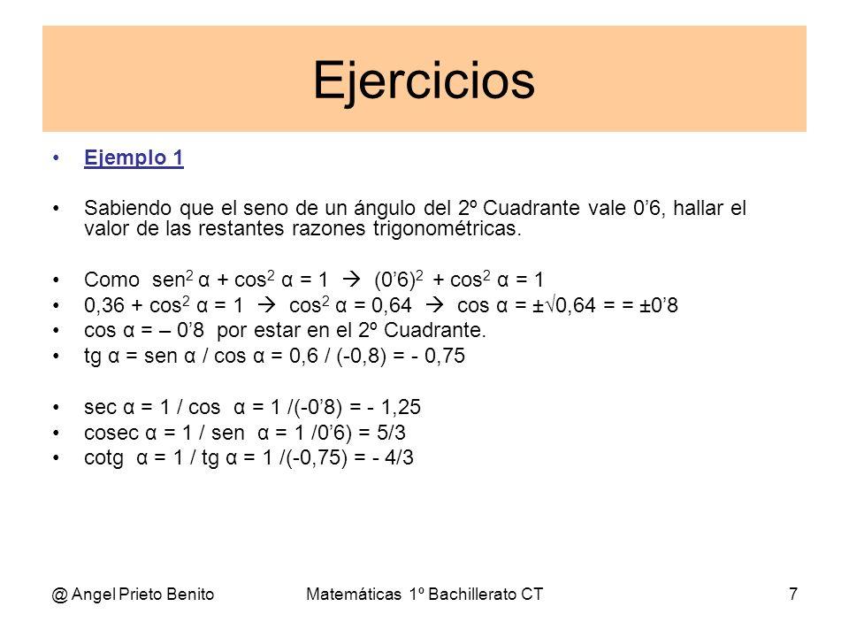 @ Angel Prieto BenitoMatemáticas 1º Bachillerato CT7 Ejercicios Ejemplo 1 Sabiendo que el seno de un ángulo del 2º Cuadrante vale 06, hallar el valor