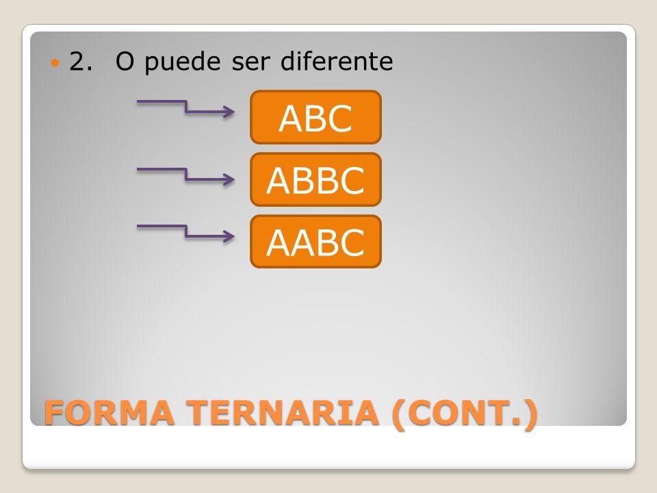 FORMA TERNARIA (CONT.) 2.O puede ser diferente ABBC AABC ABC