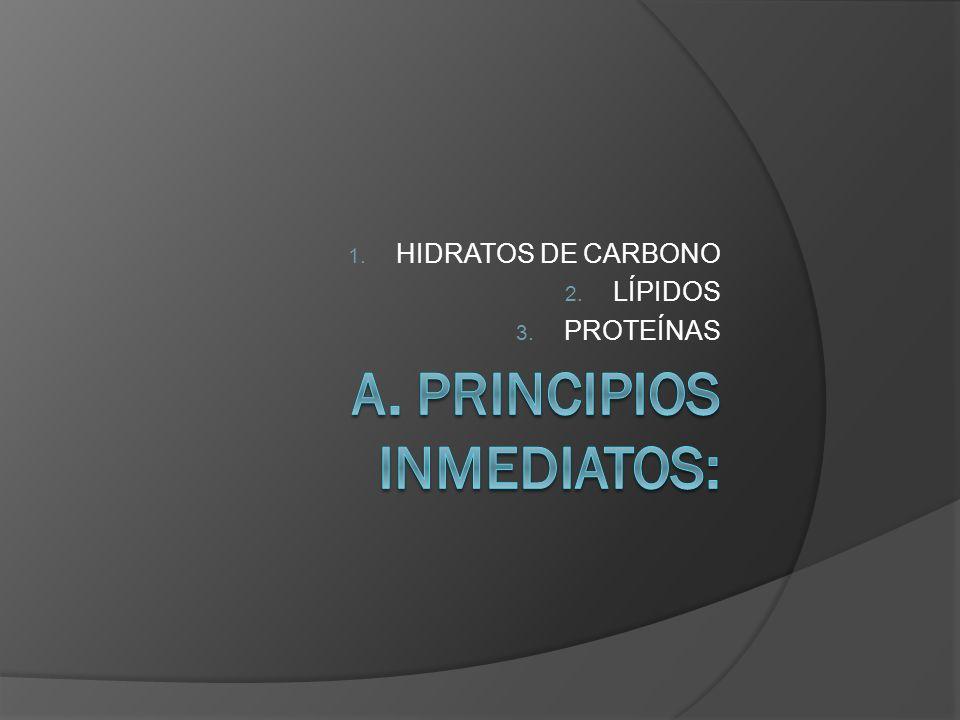 1. HIDRATOS DE CARBONO 2. LÍPIDOS 3. PROTEÍNAS