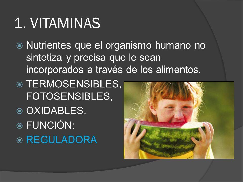 1. VITAMINAS Nutrientes que el organismo humano no sintetiza y precisa que le sean incorporados a través de los alimentos. TERMOSENSIBLES, FOTOSENSIBL