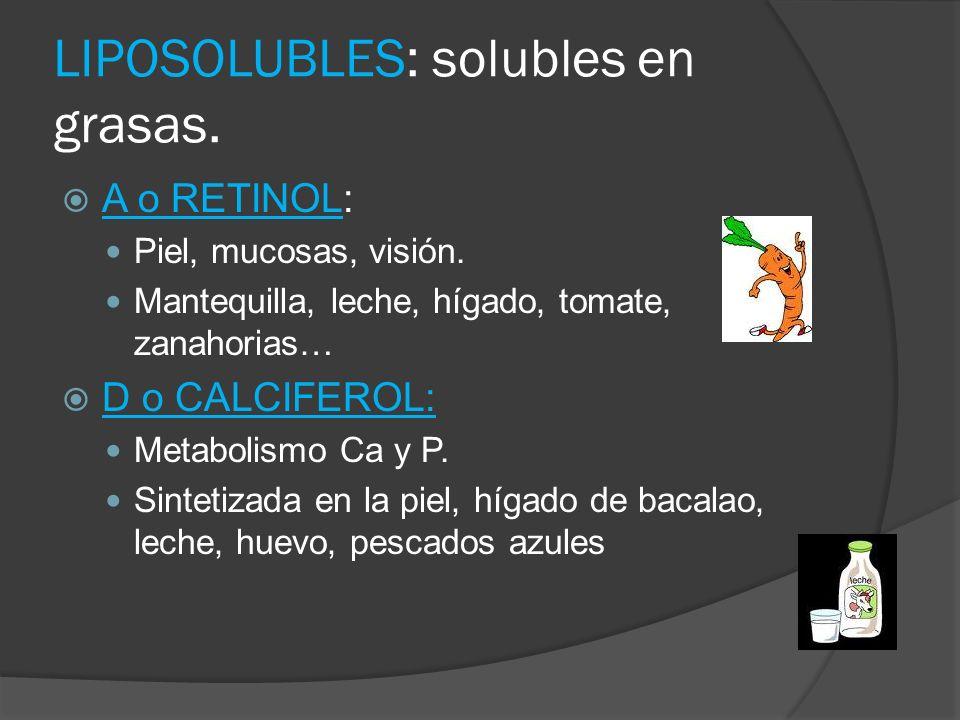 LIPOSOLUBLES: solubles en grasas. A o RETINOL: Piel, mucosas, visión. Mantequilla, leche, hígado, tomate, zanahorias… D o CALCIFEROL: Metabolismo Ca y