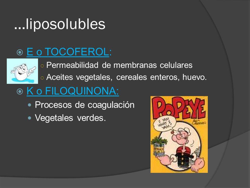 …liposolubles E o TOCOFEROL: Permeabilidad de membranas celulares Aceites vegetales, cereales enteros, huevo. K o FILOQUINONA: Procesos de coagulación