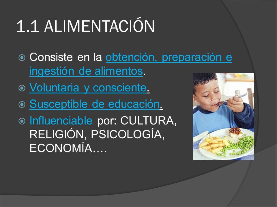 1.1 ALIMENTACIÓN Consiste en la obtención, preparación e ingestión de alimentos. Voluntaria y consciente. Susceptible de educación. Influenciable por: