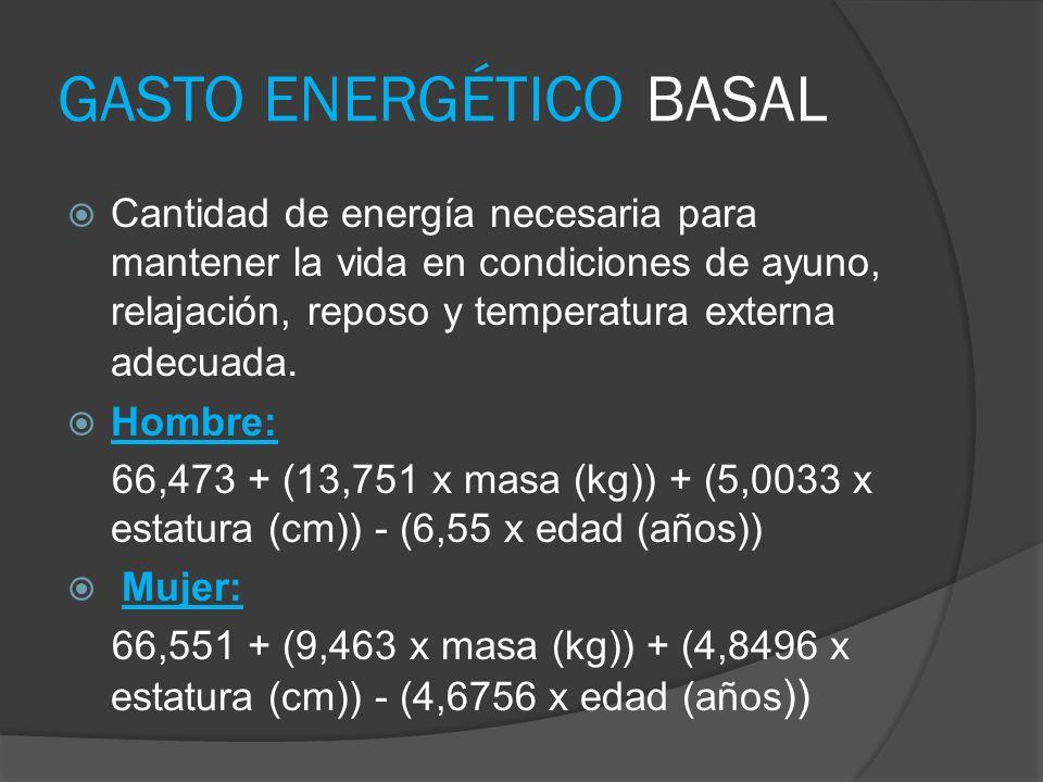 GASTO ENERGÉTICO BASAL Cantidad de energía necesaria para mantener la vida en condiciones de ayuno, relajación, reposo y temperatura externa adecuada.