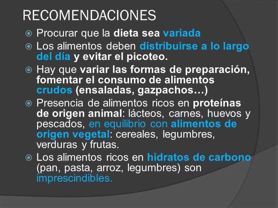 RECOMENDACIONES Procurar que la dieta sea variada Los alimentos deben distribuirse a lo largo del día y evitar el picoteo. Hay que variar las formas d