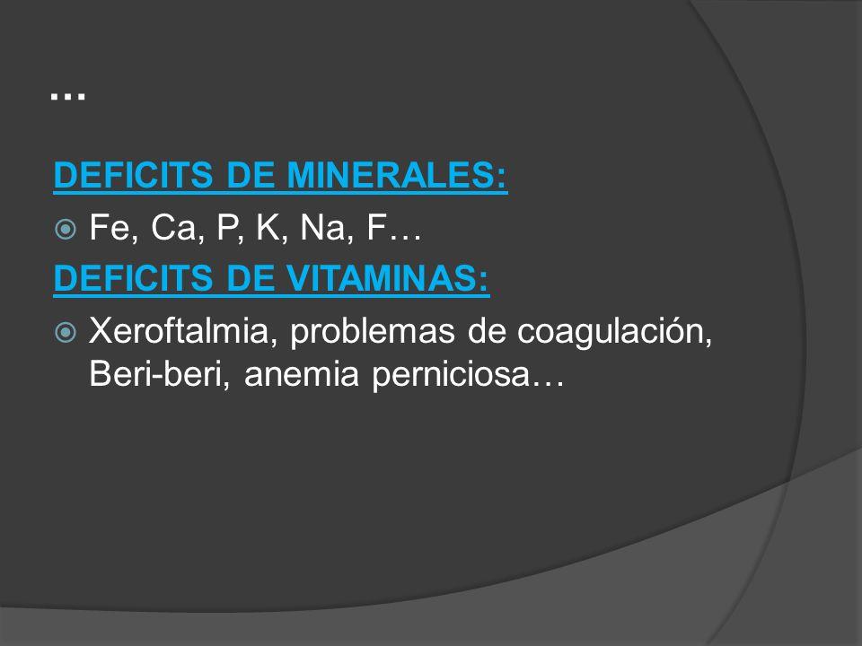 … DEFICITS DE MINERALES: Fe, Ca, P, K, Na, F… DEFICITS DE VITAMINAS: Xeroftalmia, problemas de coagulación, Beri-beri, anemia perniciosa…