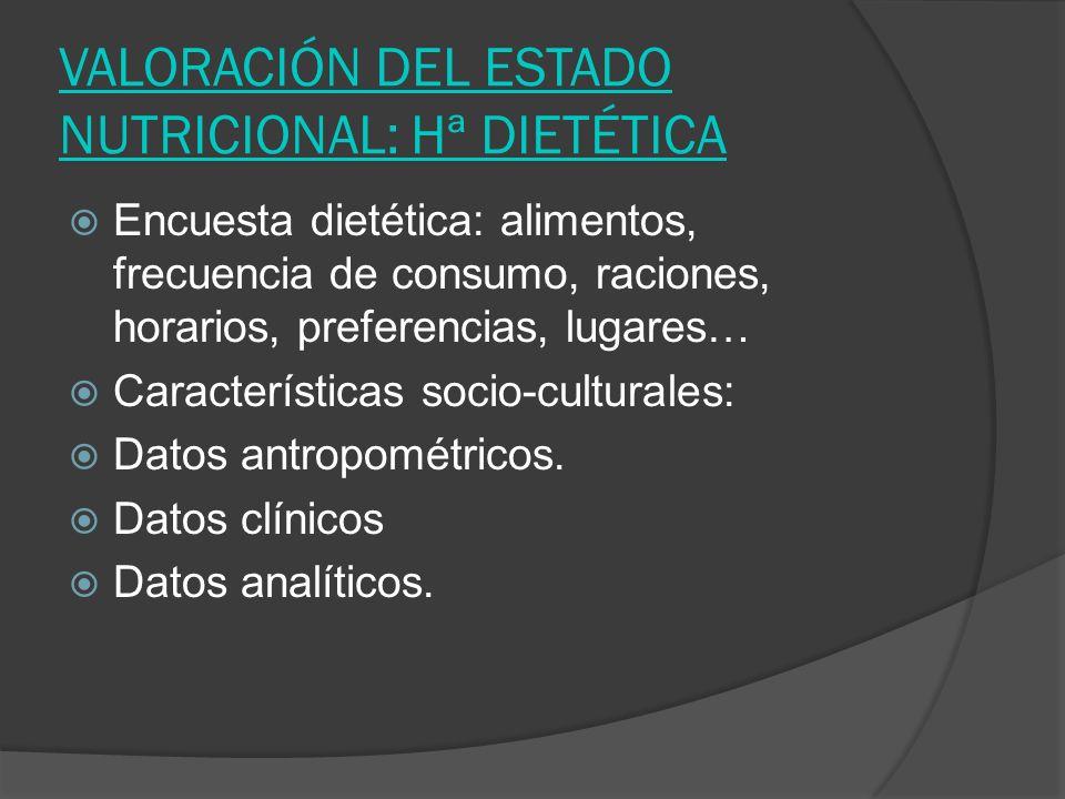 VALORACIÓN DEL ESTADO NUTRICIONAL: Hª DIETÉTICA Encuesta dietética: alimentos, frecuencia de consumo, raciones, horarios, preferencias, lugares… Carac