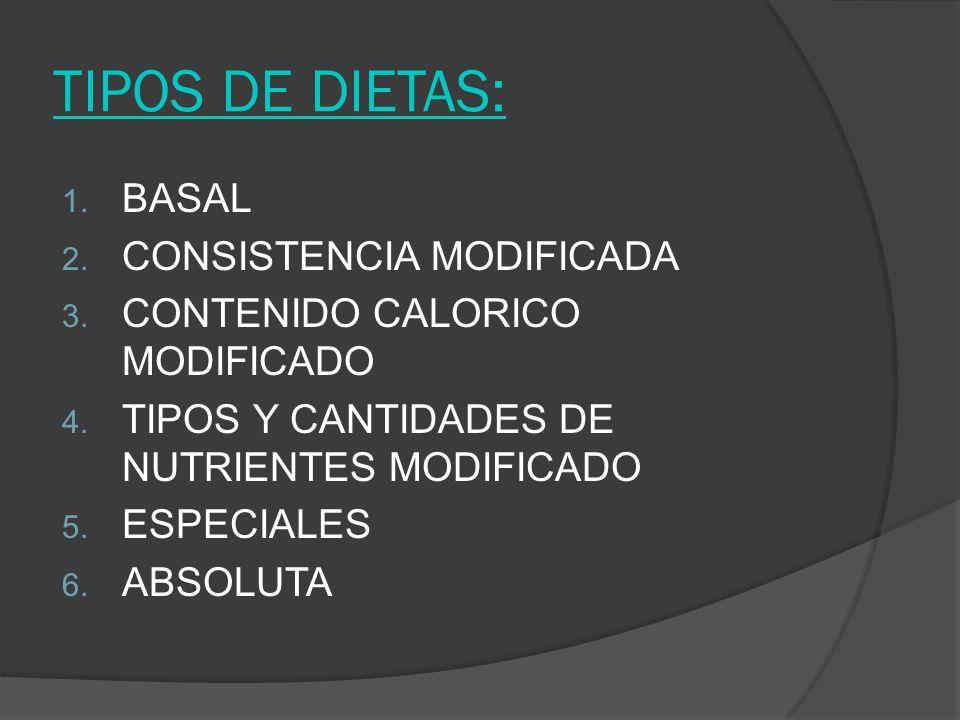 TIPOS DE DIETAS: 1. BASAL 2. CONSISTENCIA MODIFICADA 3. CONTENIDO CALORICO MODIFICADO 4. TIPOS Y CANTIDADES DE NUTRIENTES MODIFICADO 5. ESPECIALES 6.