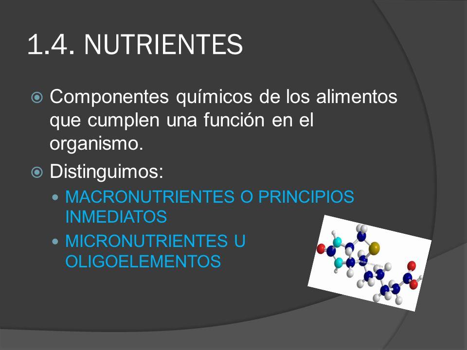 1.4. NUTRIENTES Componentes químicos de los alimentos que cumplen una función en el organismo. Distinguimos: MACRONUTRIENTES O PRINCIPIOS INMEDIATOS M