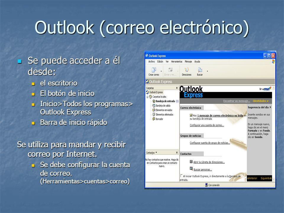 Outlook (correo electrónico) Se puede acceder a él desde: Se puede acceder a él desde: el escritorio el escritorio El botón de inicio El botón de inic