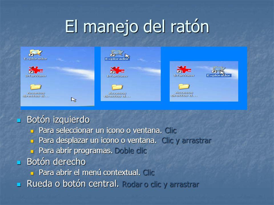 El manejo del ratón Botón izquierdo Botón izquierdo Para seleccionar un icono o ventana. Clic Para desplazar un icono o ventana. Clic y arrastrar Para