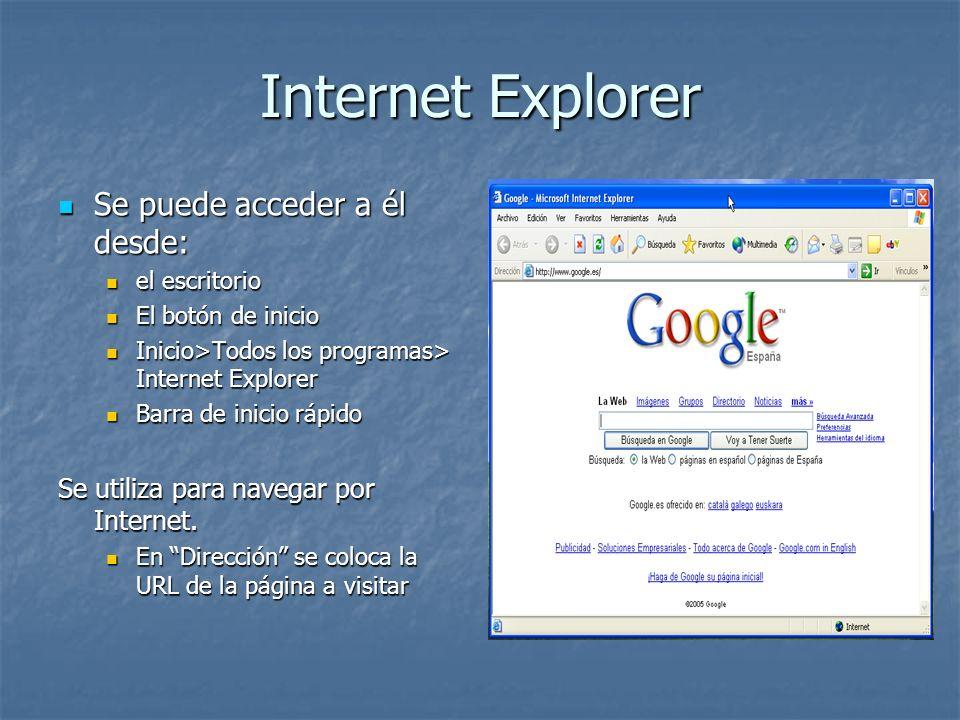 Internet Explorer Se puede acceder a él desde: Se puede acceder a él desde: el escritorio el escritorio El botón de inicio El botón de inicio Inicio>T