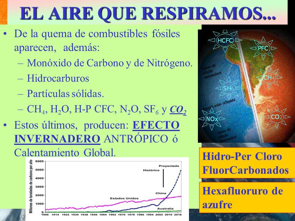 EL AIRE QUE RESPIRAMOS... De la quema de combustibles fósiles aparecen, además: –Monóxido de Carbono y de Nitrógeno. –Hidrocarburos –Partículas sólida
