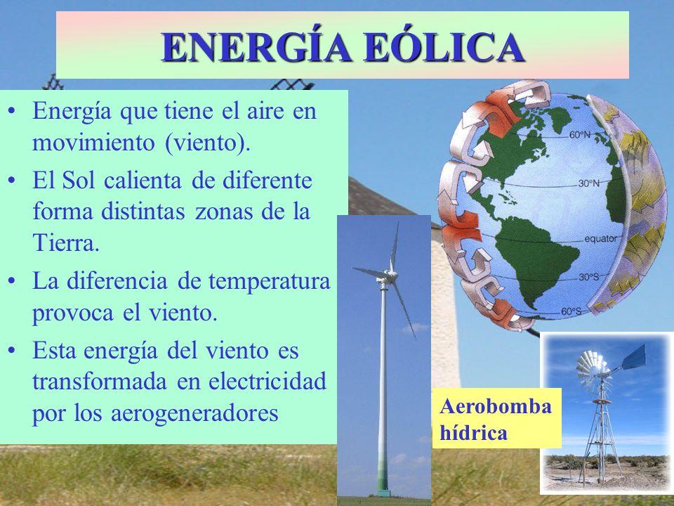 Energía que tiene el aire en movimiento (viento). El Sol calienta de diferente forma distintas zonas de la Tierra. La diferencia de temperatura provoc