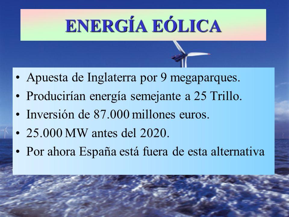Apuesta de Inglaterra por 9 megaparques. Producirían energía semejante a 25 Trillo. Inversión de 87.000 millones euros. 25.000 MW antes del 2020. Por
