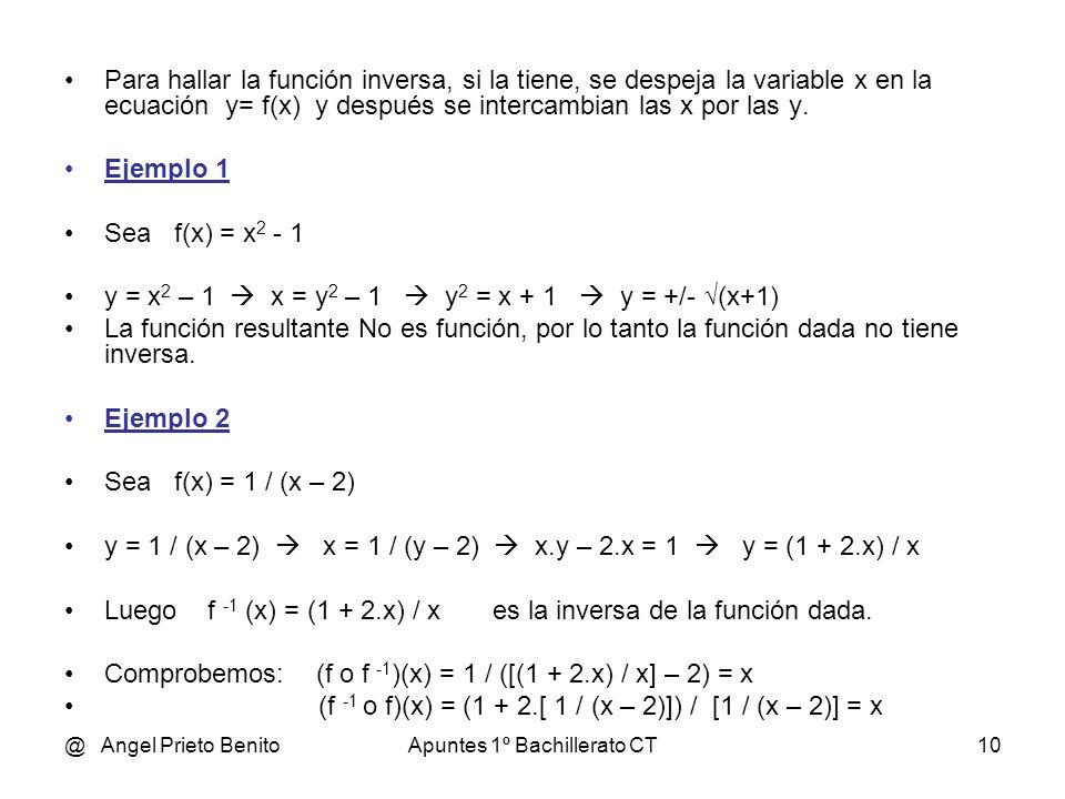 @ Angel Prieto BenitoApuntes 1º Bachillerato CT9 FUNCIÓN INVERSA DE OTRA Sea y = f(x) una función real de variable real. Llamamos función INVERSA a la