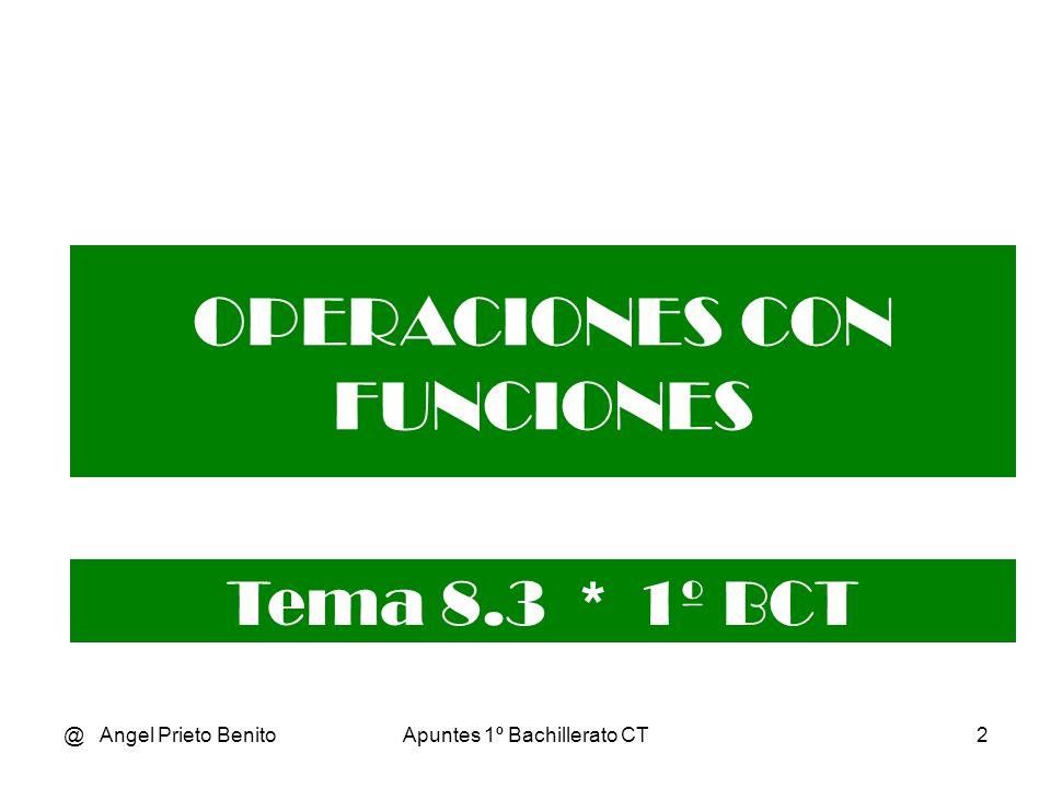 @ Angel Prieto BenitoApuntes 1º Bachillerato CT12 Ejemplos gráficos 1 y 2 En color rojo f(x) y en color azul f -1 (x), o viceversa.
