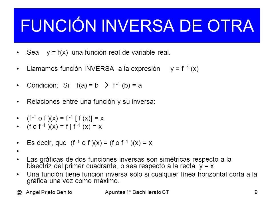 @ Angel Prieto BenitoApuntes 1º Bachillerato CT8 Ejemplo_4 3 Sea f(x) = x,, g(x) = x 2 3 6 3 (f o g)(x) = f [ g (x) ] = ( x 2 ) = x 2 = x 3 3 (g o f)(