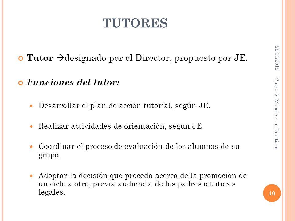 TUTORES Tutor designado por el Director, propuesto por JE. Funciones del tutor: Desarrollar el plan de acción tutorial, según JE. Realizar actividades