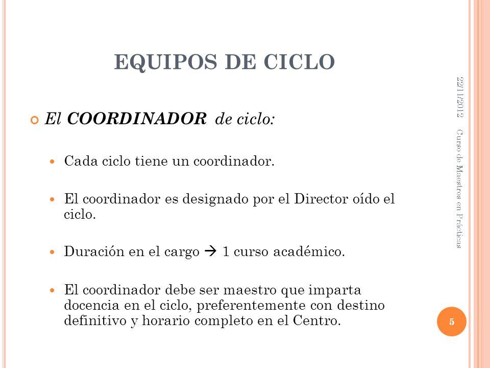 EQUIPOS DE CICLO El COORDINADOR de ciclo: Cada ciclo tiene un coordinador. El coordinador es designado por el Director oído el ciclo. Duración en el c