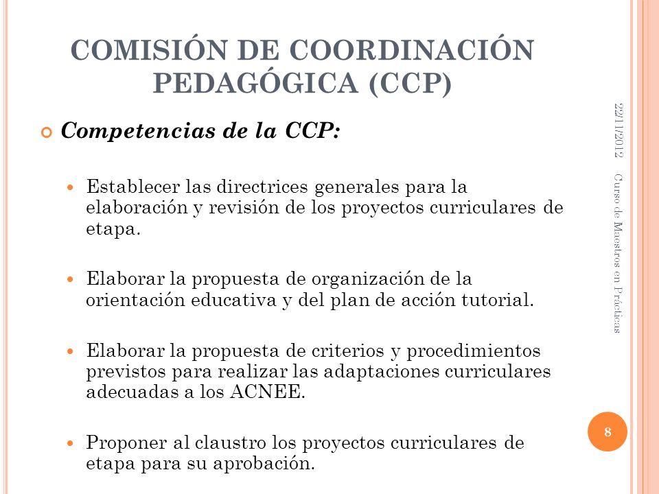 COMISIÓN DE COORDINACIÓN PEDAGÓGICA (CCP) Competencias de la CCP: Establecer las directrices generales para la elaboración y revisión de los proyectos