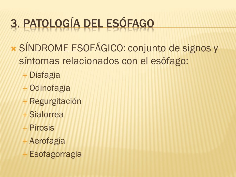 SÍNDROME ESOFÁGICO: conjunto de signos y síntomas relacionados con el esófago: Disfagia Odinofagia Regurgitación Sialorrea Pirosis Aerofagia Esofagorragia