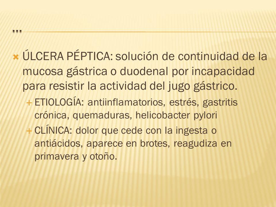 ÚLCERA PÉPTICA: solución de continuidad de la mucosa gástrica o duodenal por incapacidad para resistir la actividad del jugo gástrico.