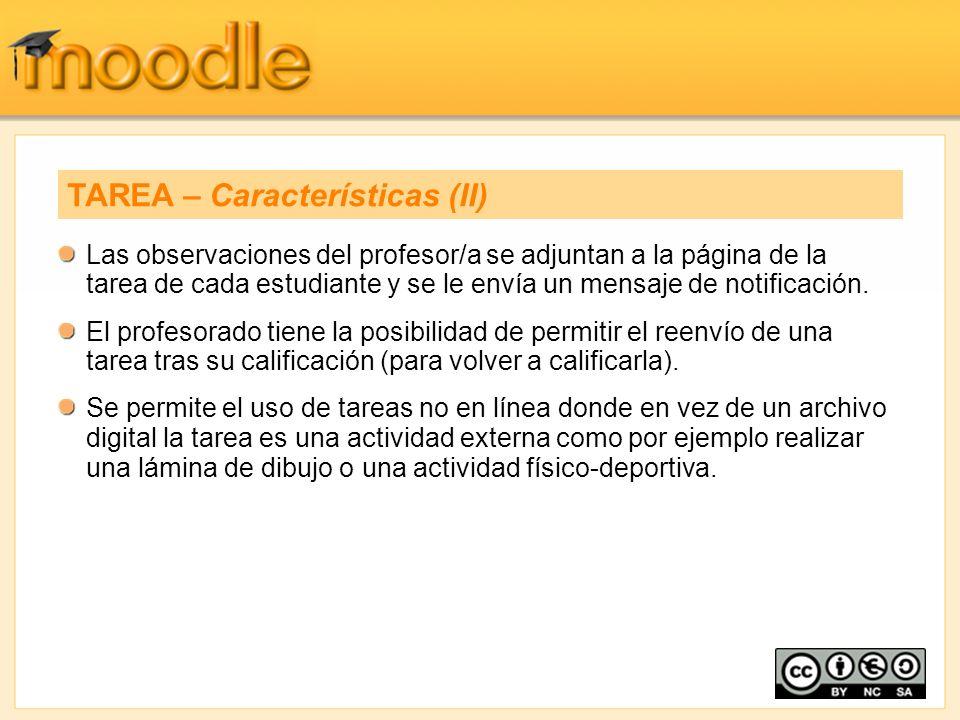Las observaciones del profesor/a se adjuntan a la página de la tarea de cada estudiante y se le envía un mensaje de notificación. El profesorado tiene
