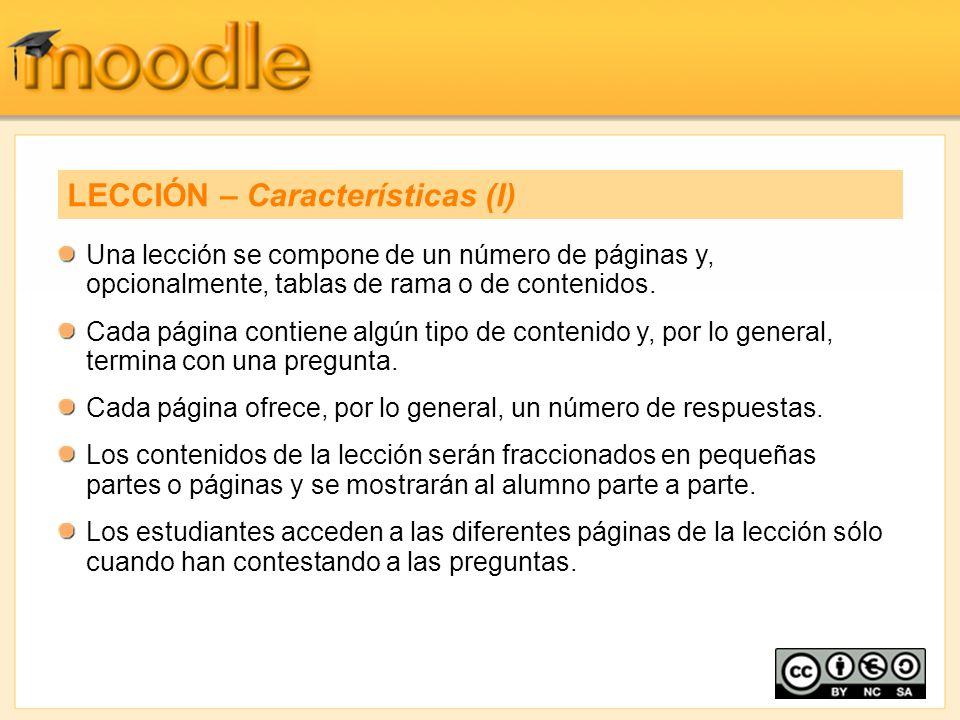 Una lección se compone de un número de páginas y, opcionalmente, tablas de rama o de contenidos. Cada página contiene algún tipo de contenido y, por l