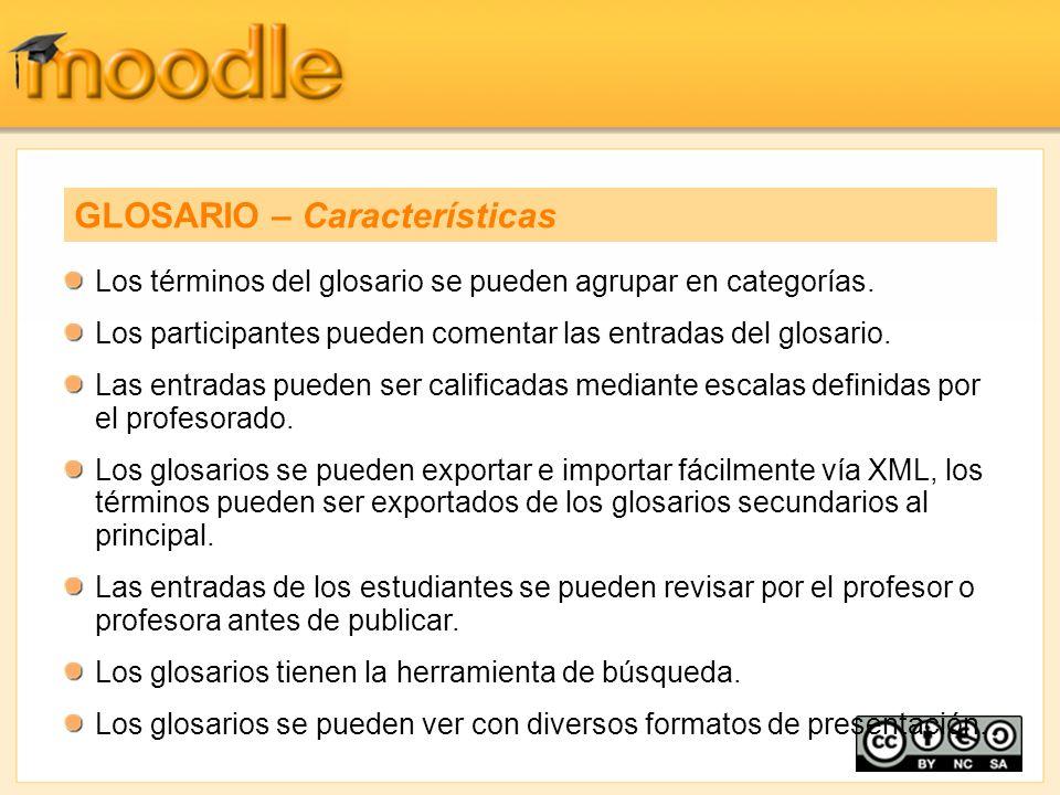 Los términos del glosario se pueden agrupar en categorías. Los participantes pueden comentar las entradas del glosario. Las entradas pueden ser califi