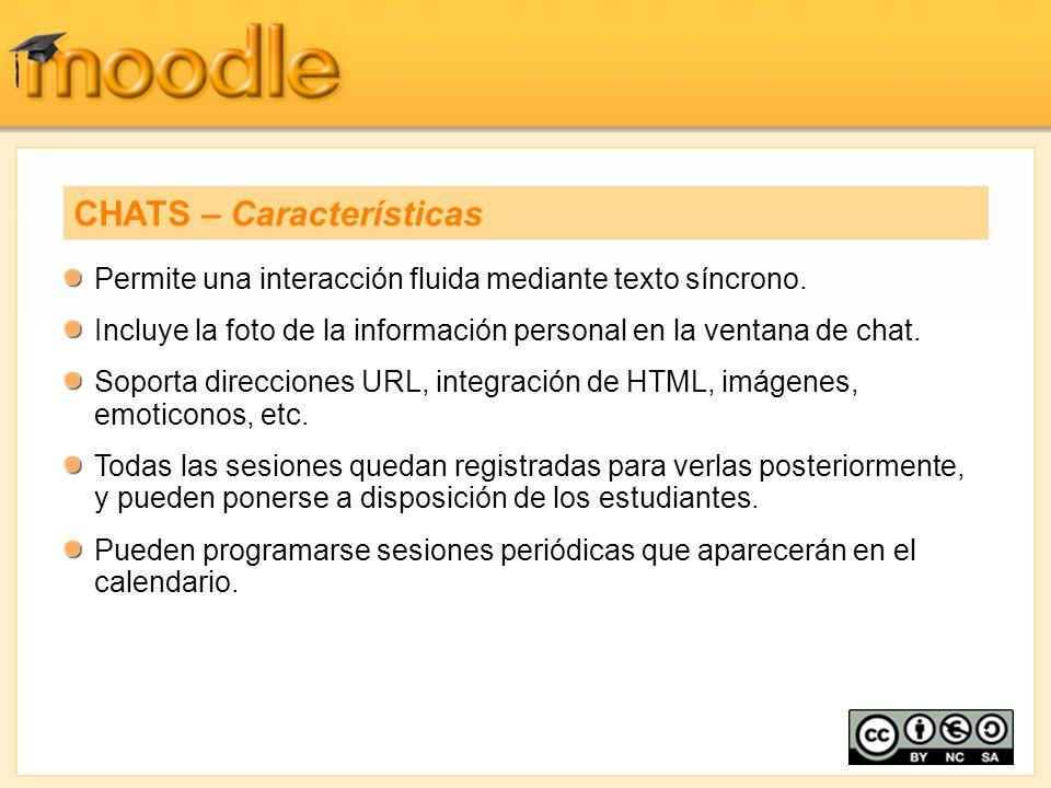 Permite una interacción fluida mediante texto síncrono. Incluye la foto de la información personal en la ventana de chat. Soporta direcciones URL, int