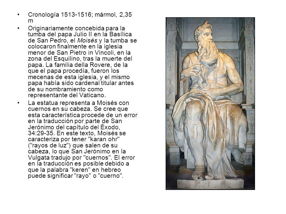 Cronología 1513-1516; mármol, 2,35 m Originariamente concebida para la tumba del papa Julio II en la Basílica de San Pedro, el Moisés y la tumba se co