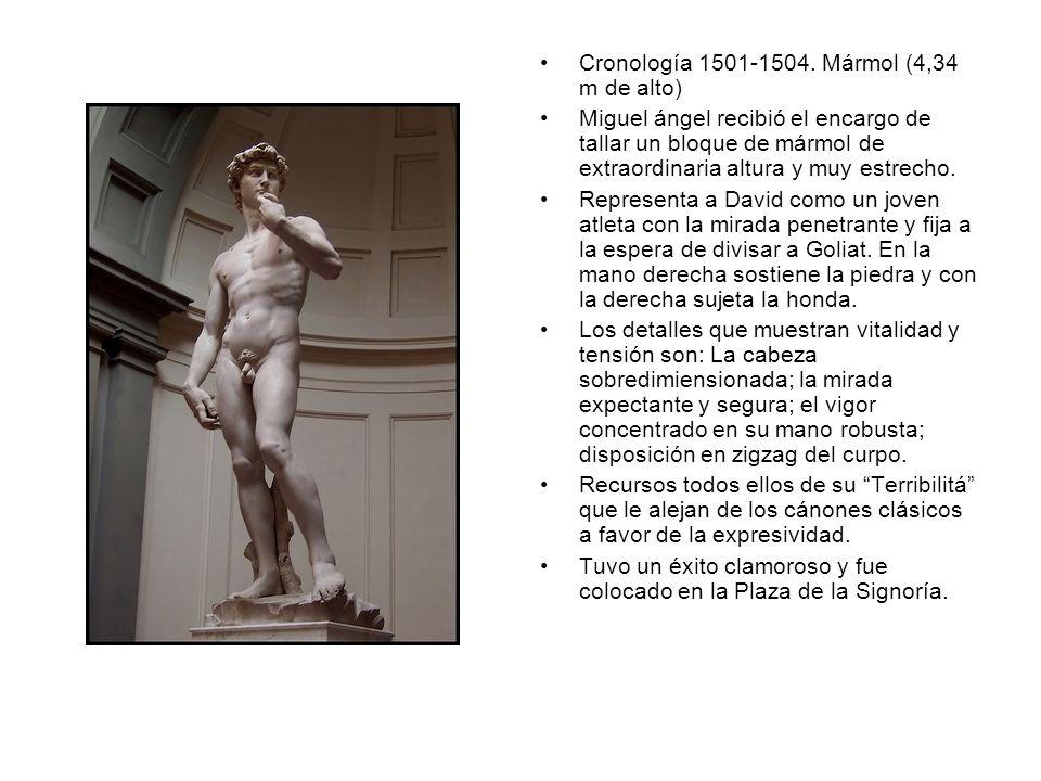 Cronología 1501-1504. Mármol (4,34 m de alto) Miguel ángel recibió el encargo de tallar un bloque de mármol de extraordinaria altura y muy estrecho. R