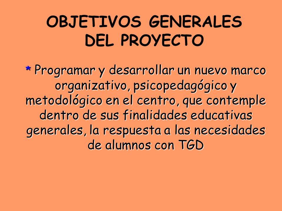 OBJETIVOS GENERALES DEL PROYECTO * Programar y desarrollar un nuevo marco organizativo, psicopedagógico y metodológico en el centro, que contemple den