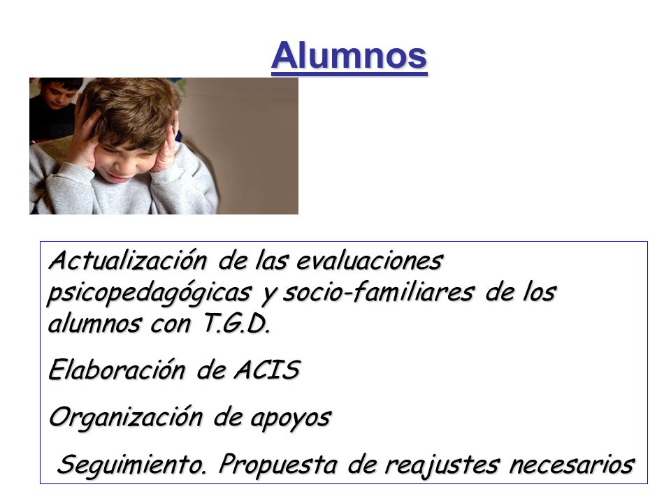 Alumnos Actualización de las evaluaciones psicopedagógicas y socio-familiares de los alumnos con T.G.D. Elaboración de ACIS Organización de apoyos Seg