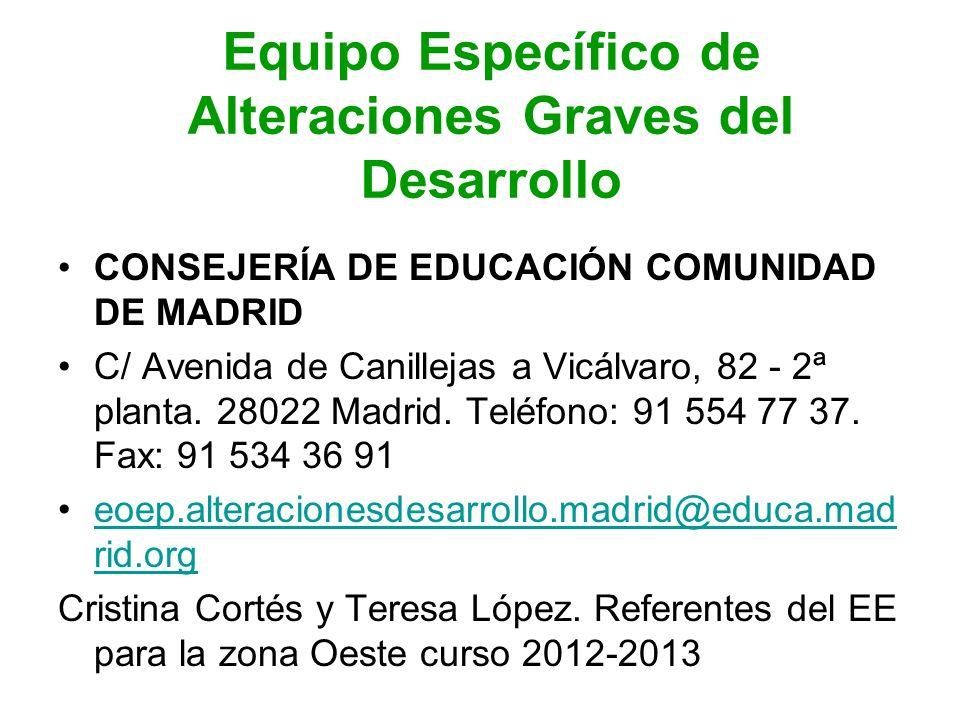 Equipo Específico de Alteraciones Graves del Desarrollo CONSEJERÍA DE EDUCACIÓN COMUNIDAD DE MADRID C/ Avenida de Canillejas a Vicálvaro, 82 - 2ª plan