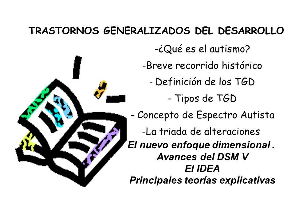TRASTORNOS GENERALIZADOS DEL DESARROLLO -¿Qué es el autismo? -Breve recorrido histórico - Definición de los TGD - Tipos de TGD - Concepto de Espectro