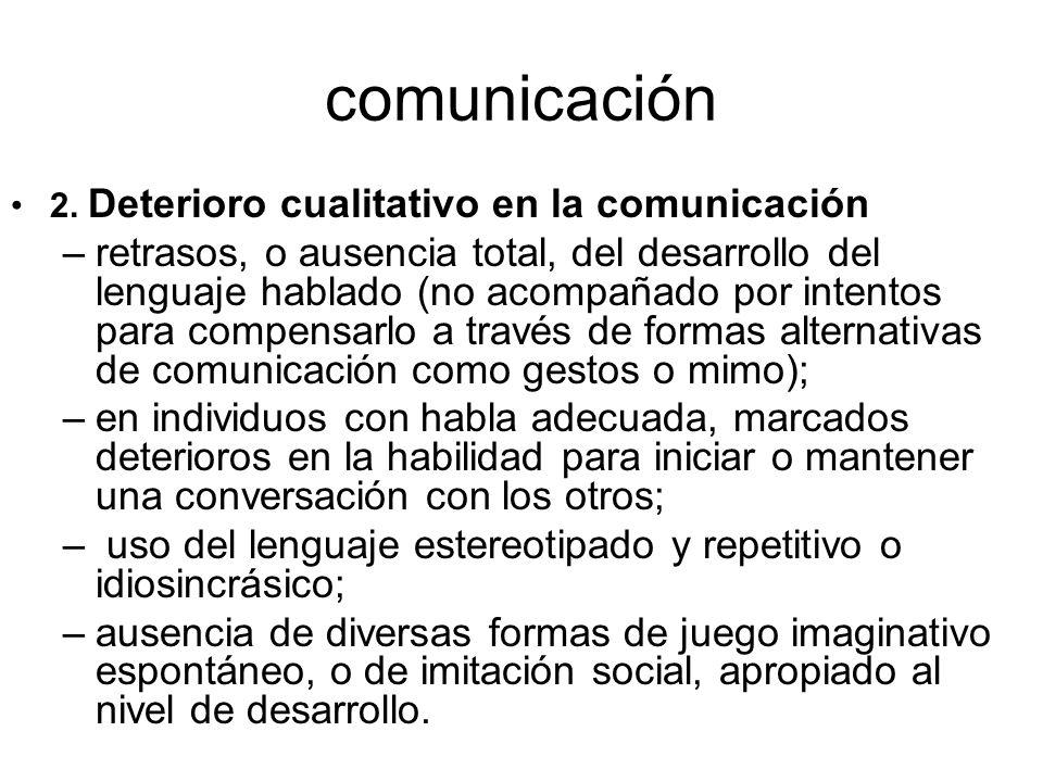 comunicación 2. Deterioro cualitativo en la comunicación –retrasos, o ausencia total, del desarrollo del lenguaje hablado (no acompañado por intentos