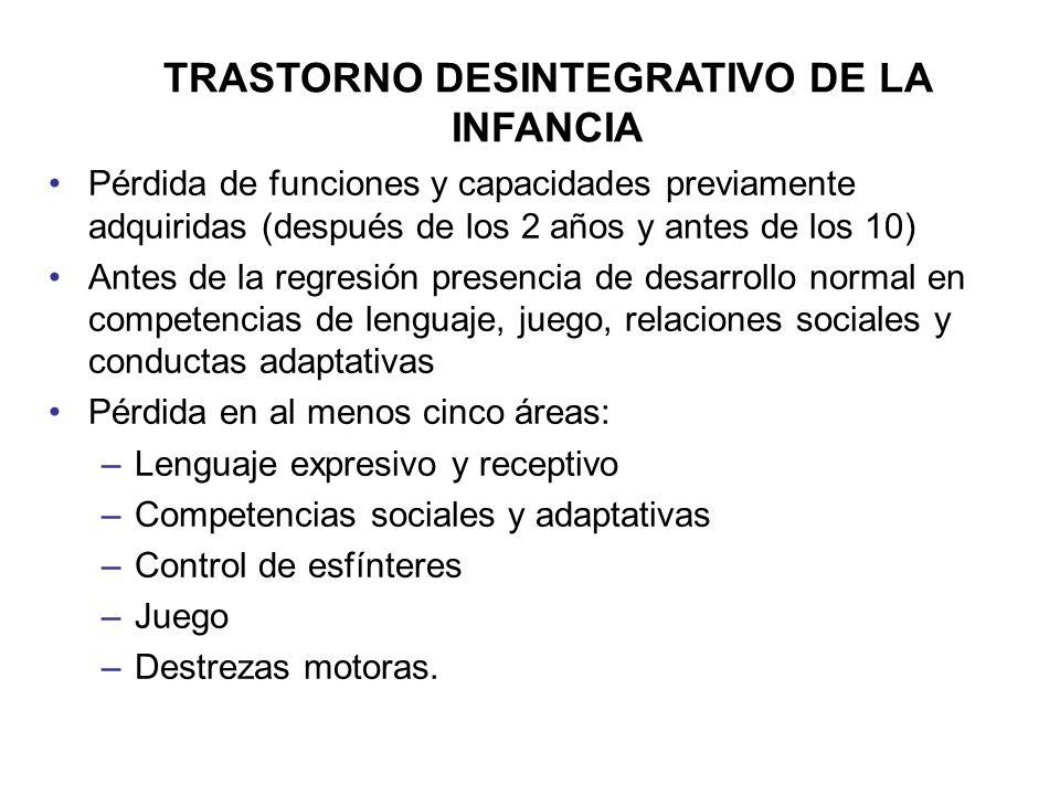 TRASTORNO DESINTEGRATIVO DE LA INFANCIA Pérdida de funciones y capacidades previamente adquiridas (después de los 2 años y antes de los 10) Antes de l