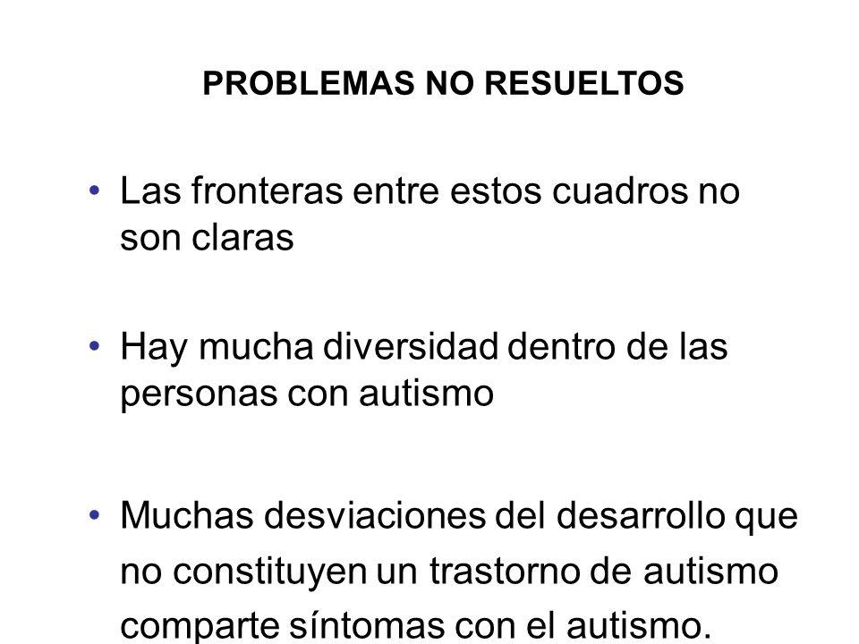 PROBLEMAS NO RESUELTOS Las fronteras entre estos cuadros no son claras Hay mucha diversidad dentro de las personas con autismo Muchas desviaciones del