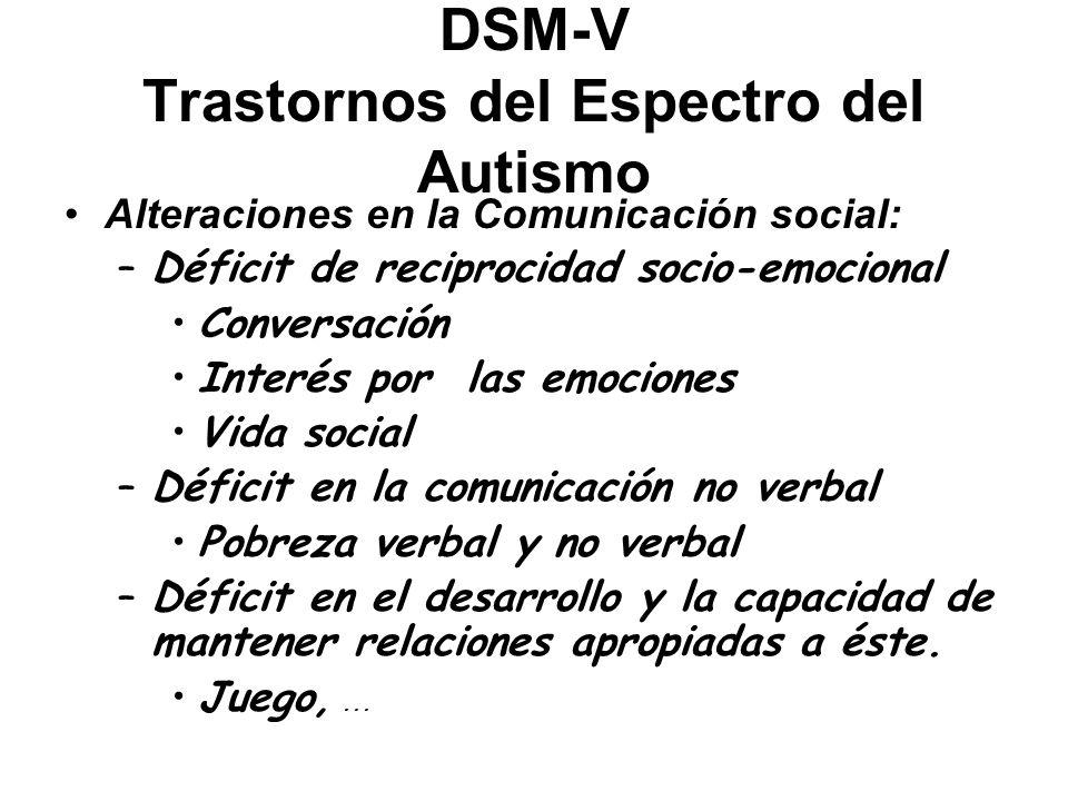 DSM-V Trastornos del Espectro del Autismo Alteraciones en la Comunicación social: –Déficit de reciprocidad socio-emocional Conversación Interés por la