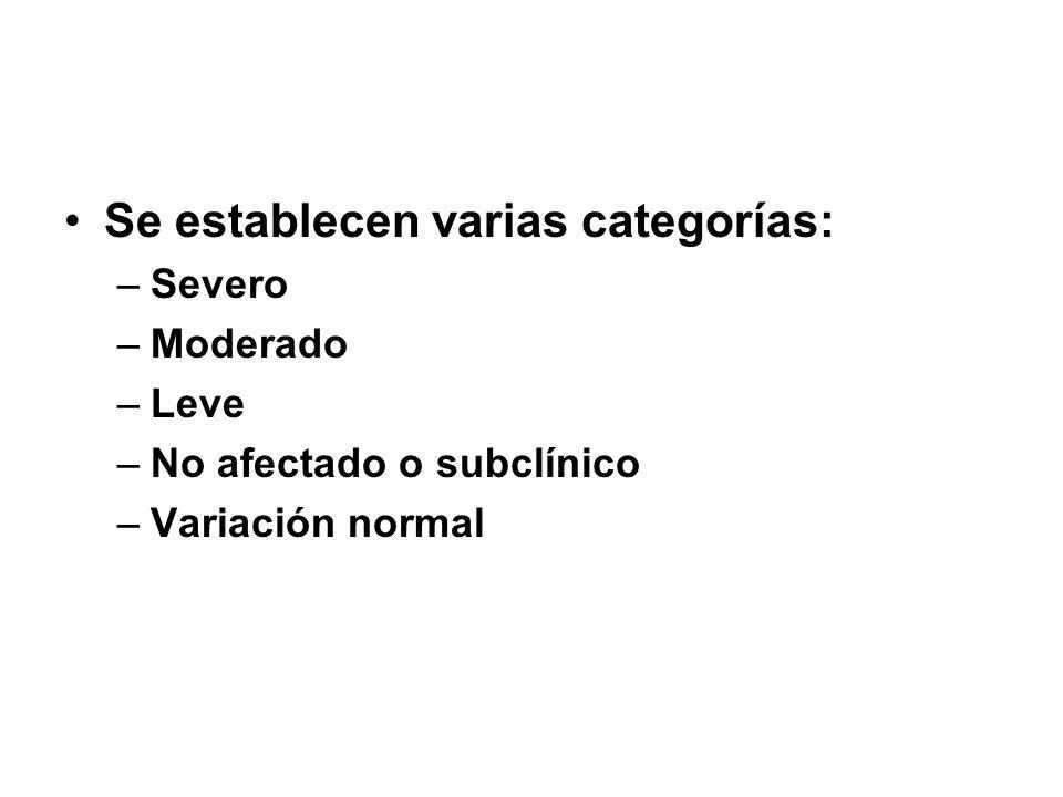 Se establecen varias categorías: –Severo –Moderado –Leve –No afectado o subclínico –Variación normal