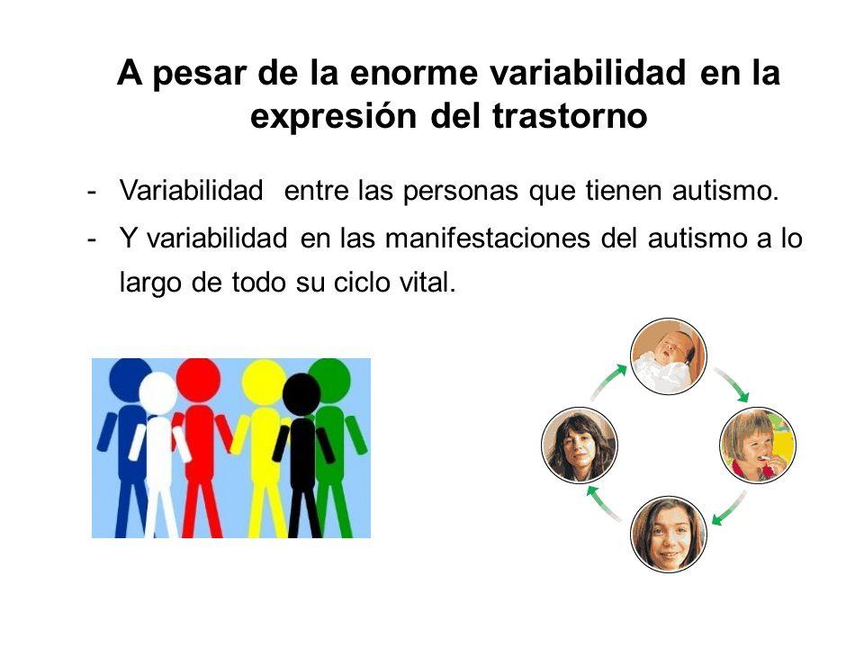 -Variabilidad entre las personas que tienen autismo. -Y variabilidad en las manifestaciones del autismo a lo largo de todo su ciclo vital. A pesar de