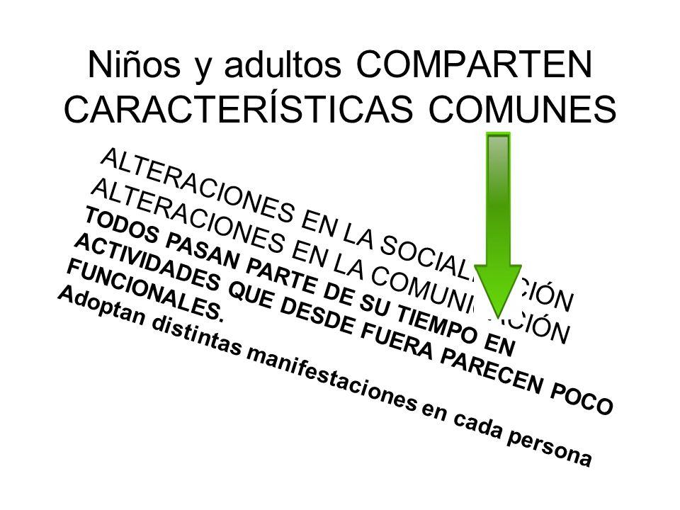 Niños y adultos COMPARTEN CARACTERÍSTICAS COMUNES ALTERACIONES EN LA SOCIALIZACIÓN ALTERACIONES EN LA COMUNICACIÓN TODOS PASAN PARTE DE SU TIEMPO EN A