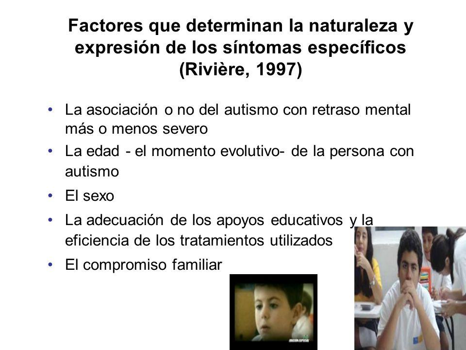 Factores que determinan la naturaleza y expresión de los síntomas específicos (Rivière, 1997) La asociación o no del autismo con retraso mental más o