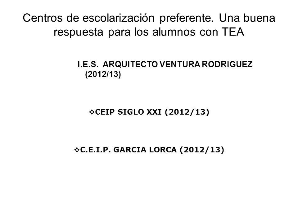 Centros de escolarización preferente. Una buena respuesta para los alumnos con TEA I.E.S. ARQUITECTO VENTURA RODRIGUEZ (2012/13) C.E.I.P. GARCIA LORCA